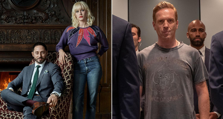 """Peder Rooth (Matias Varela), Bea Farkas (Julia Ragnarsson) i """"Fartblinda"""" mot """"Billions"""" Bobby Axelrod (Damian Lewis) i hårdrockströja."""