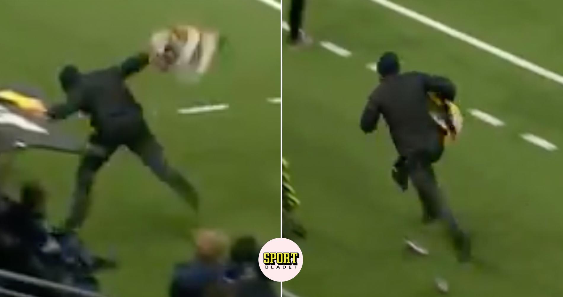 Supporter stal en flagga – ramlade