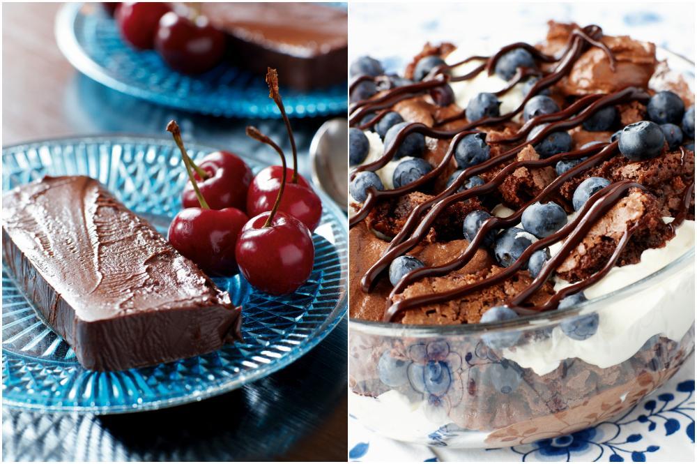 Chokladterrin och chokladtrifle.