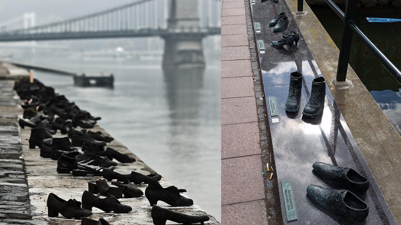 """Till vänster """"Skorna vid Donau"""" av Can Togay och skulptören Gyula Pauer, till höger Åsa Maria Bengtssons """"Way to go""""."""
