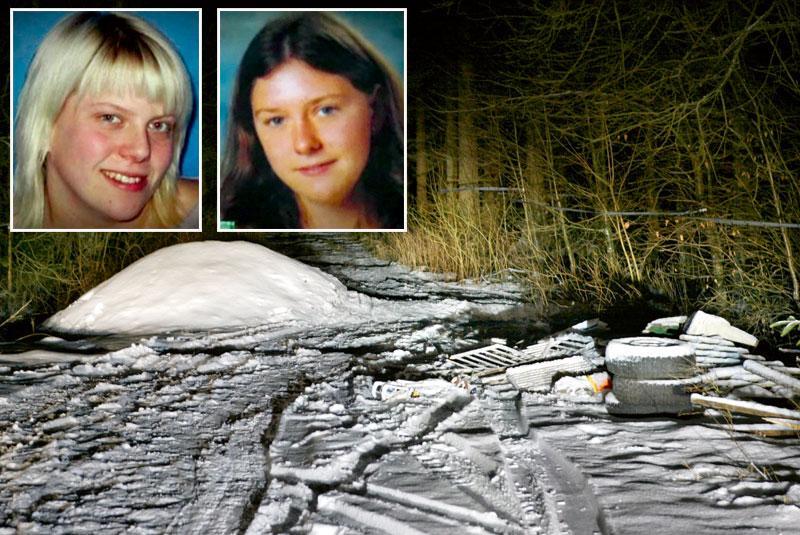 mordplatsen. Här misshandlade de två killarna Emma Karlsson, 18, och Linda Jönsson, 18. De lämnade dem att frysa ihjäl, utan ytterkläder i snön.
