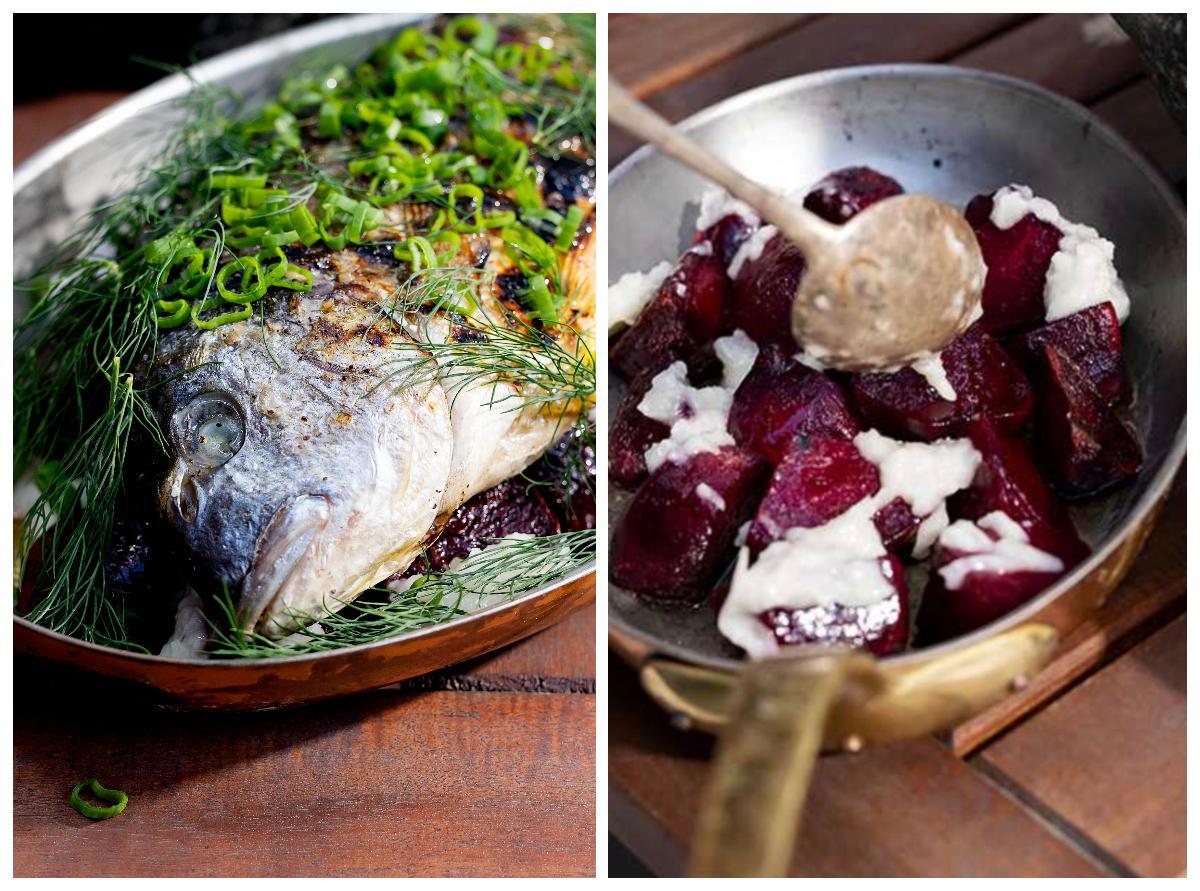 Grillad fisk med betor och vitlök.