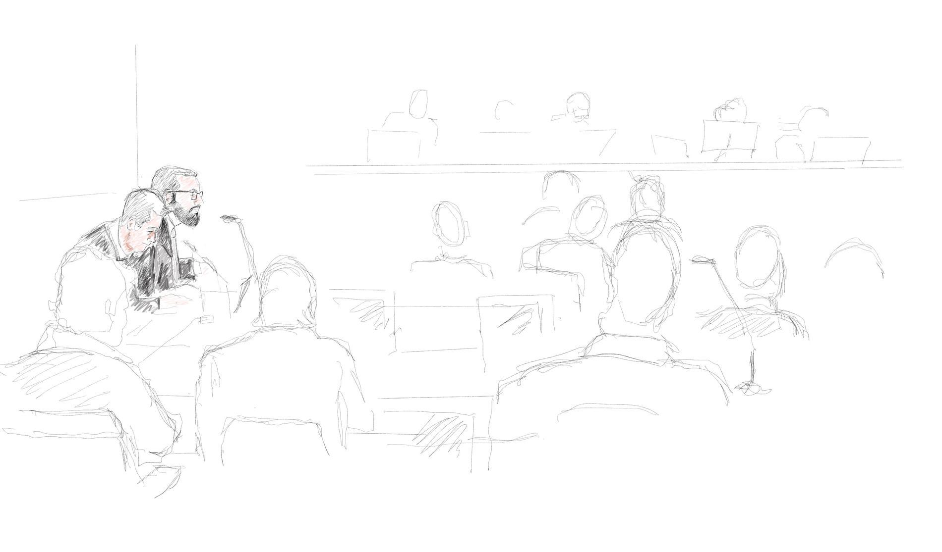 Rättegång mot tre män i Säkerhetssalen i Stockholms tingsrätt den 9 januari i år.