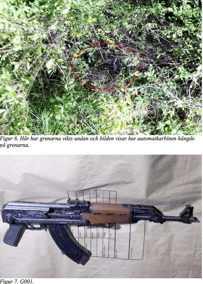 Vapen som hittades dumpat efter attacken i Nacka.