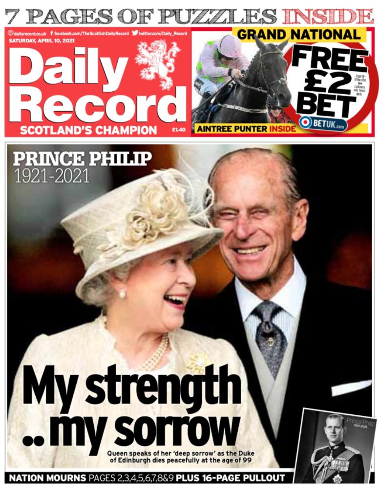 """Min styrka... min sorg"", skriver Daily Record."