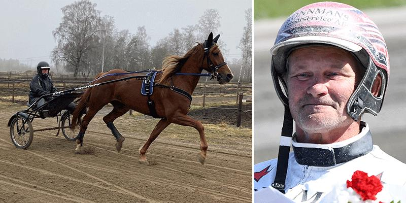 Sonja Johansson-Stake och Blue Frontline och lördagens kusk på V75, Mikael J Andersson.