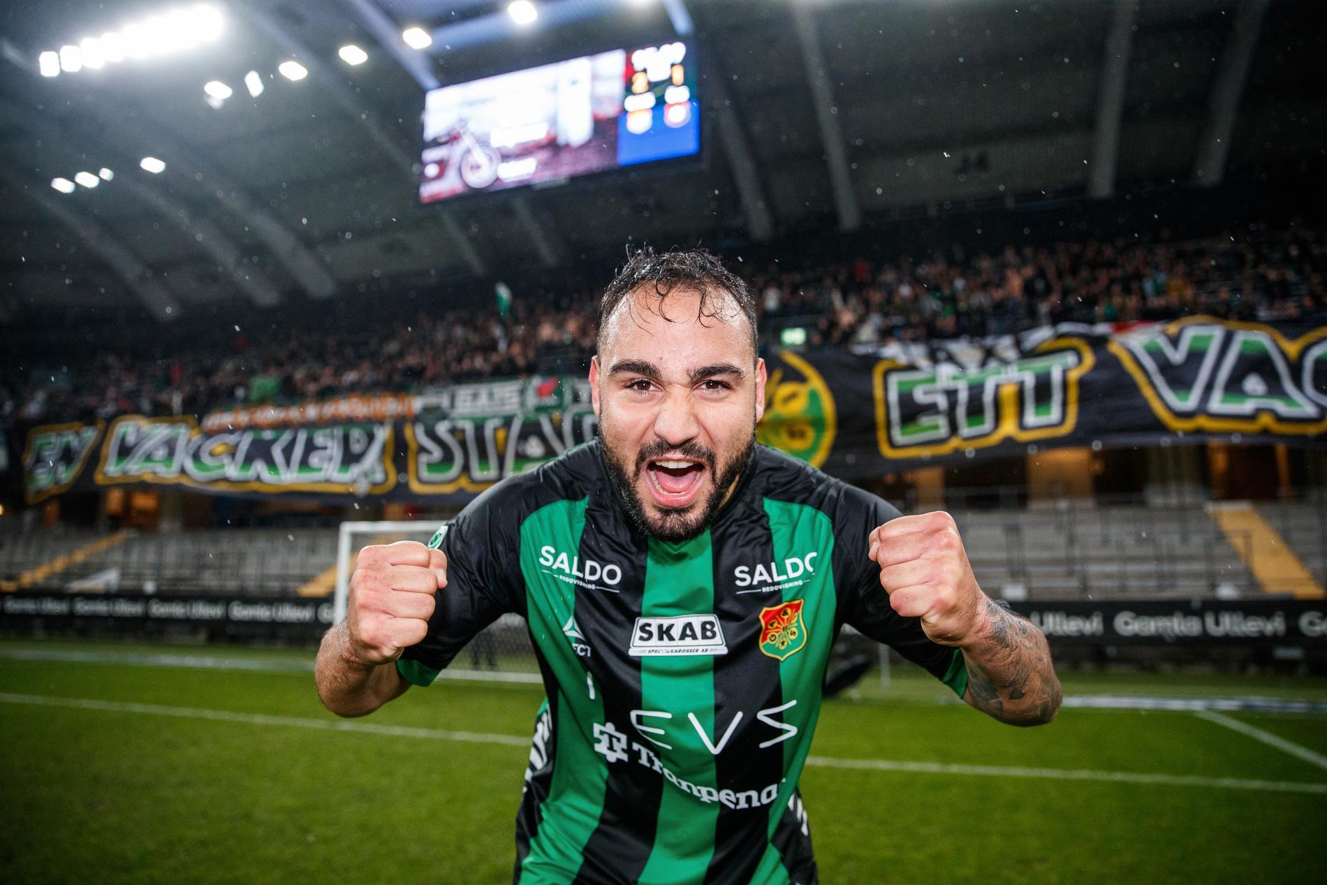 Richard Yarsuvat jublar efter ha avgjort derbyt mot Örgryte.