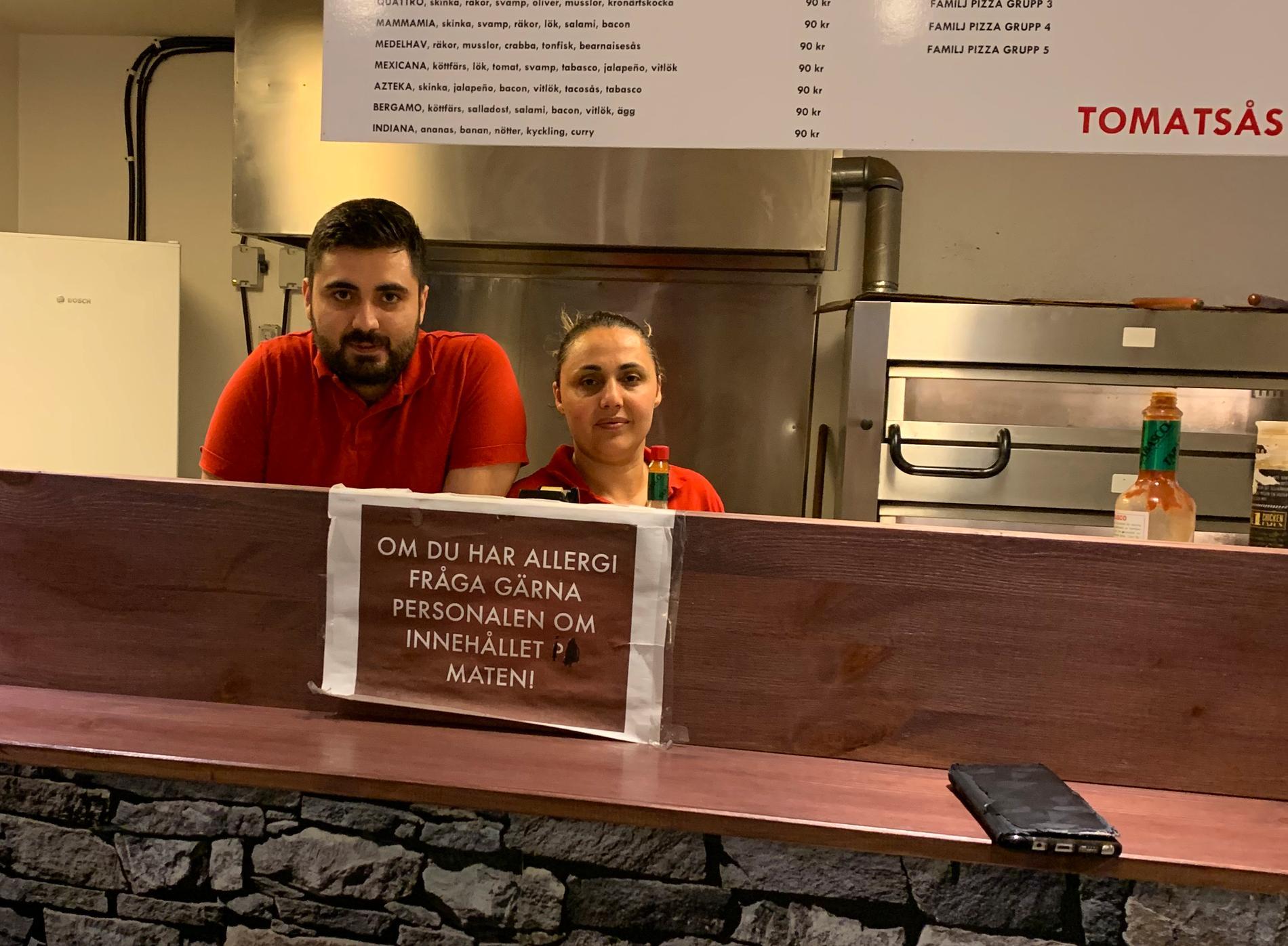 Türkan Hoplar och Kazim Altun driver tillsammans Elsas pizzeria i Mellansel, Örnsköldsvik.