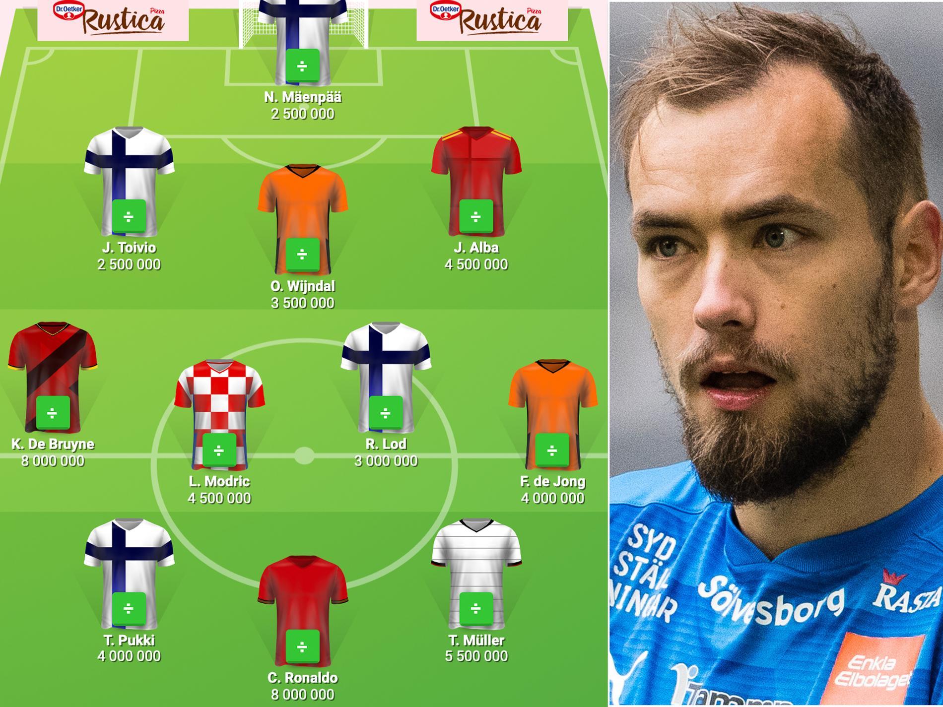 Carljohan Erikssons lag med världsstjärnor som omgärdar fyra finska spelare.