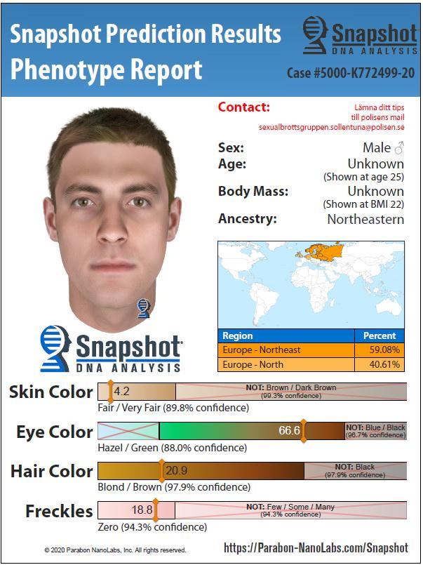 Så här tror man att den misstänkte serievåldtäktsmannen ser ut baserat på dna-fyndet.