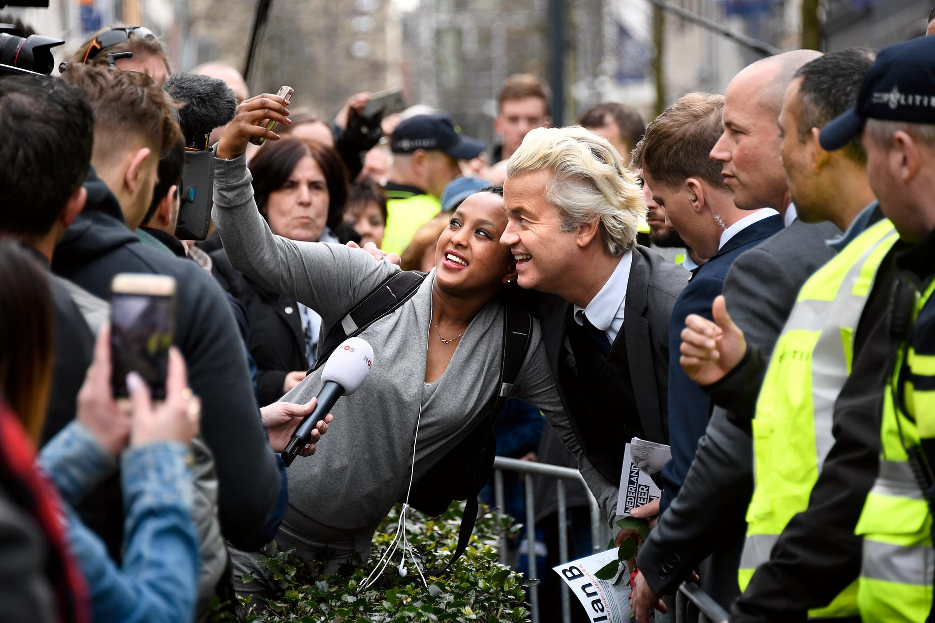 Geert Wilders valkampanjar i Valkenburg.