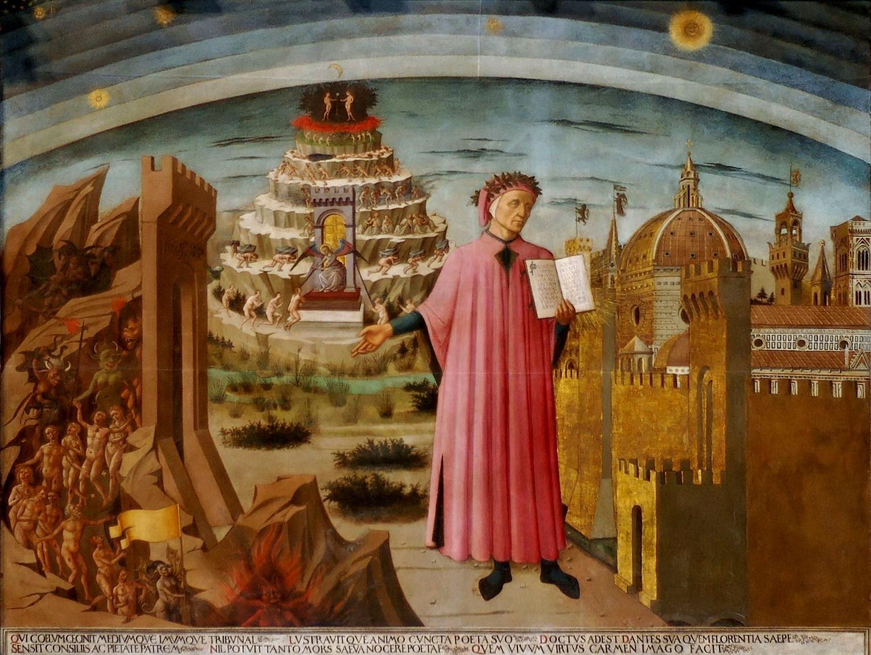 Dante Alighieri, fresk av Domenico di Michelino i katedralen i Florens.