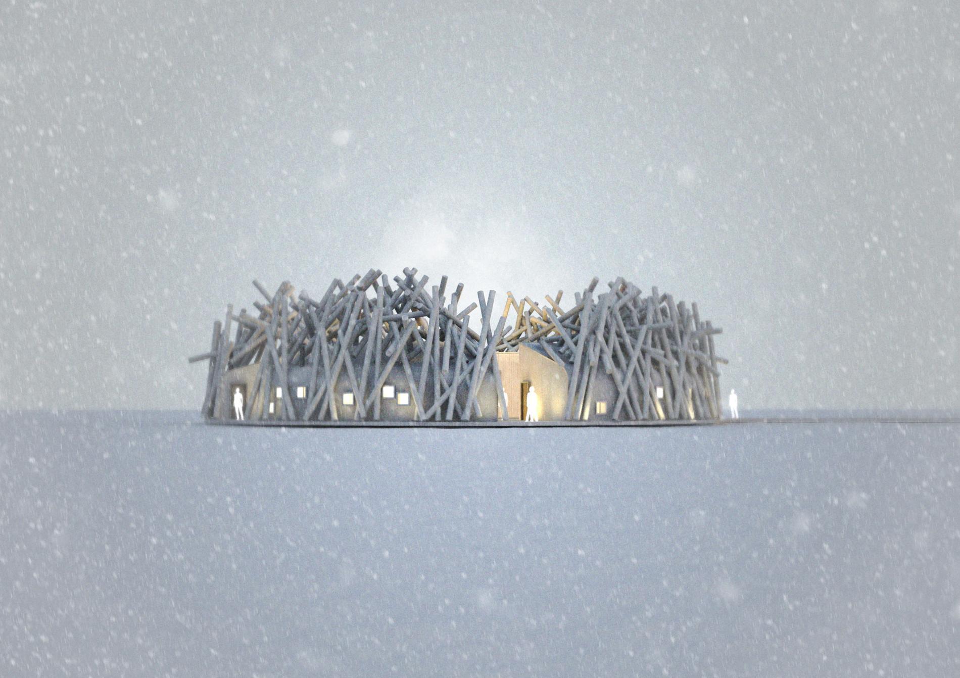 På vintern kommer hotellet att vara fastfruset i isen.