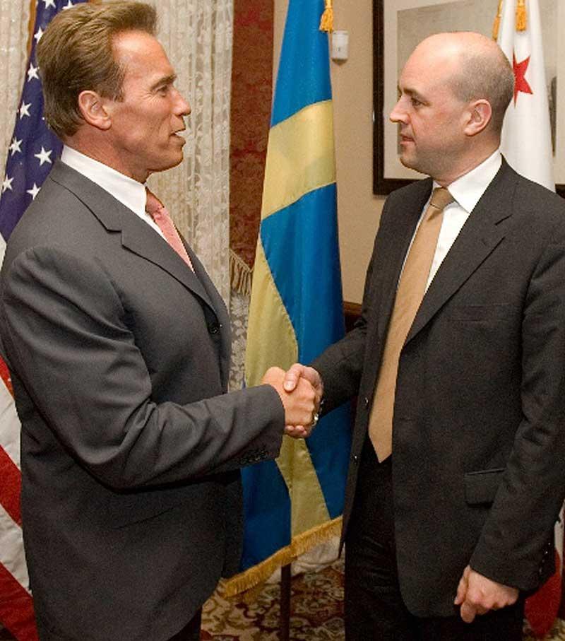 Kaliforniens guvernör Arnold Schwarzenegger och statsminister Fredrik Reinfeldt diskuterade fallet Annika Östberg – men visade det inte utåt.