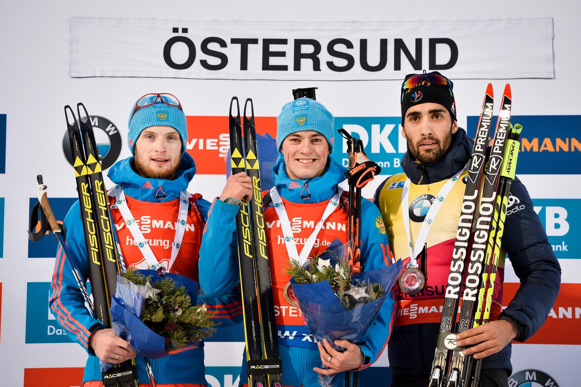 I världscuptävlingarna i Östersund blev Fourcade trea bakom två ryska åkare.