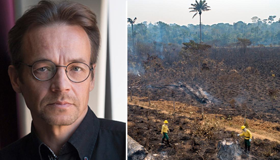 Klimatfrågans startsträcka har varit lång fram till att vi i dag är i en akut fas, skriver Markku Rummukainen. Bakgrundsbilden är från 18 juli 2020 och visar en regnskog som slukats av brand i Brasilien. Experter säger att eldsvådorna håller på och puttar världens största regnskog mot en tippningspunkt, efter vilken den riskerar att sluta genera tillräckligt mycket regn för att bevara sig själv. Regnskog lagrar stora mängder koldioxid och när den förstörs släpps koldioxiden ut i atmosfären igen.
