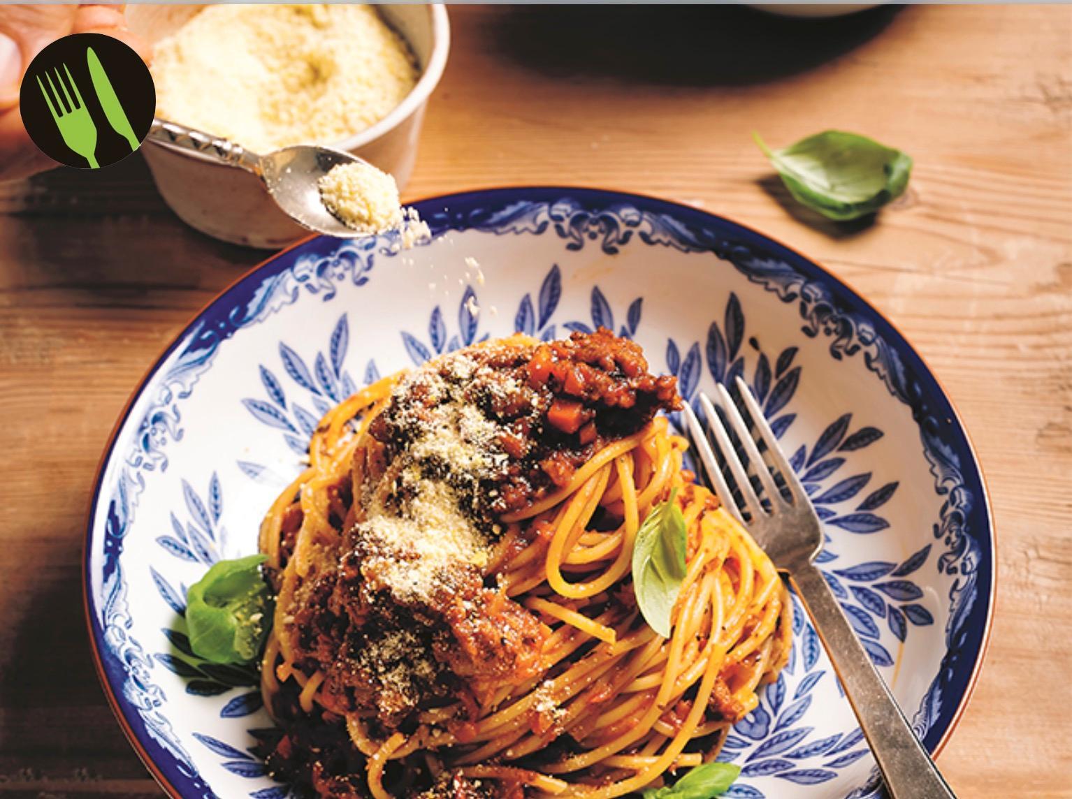 Spagetti med köttfärssås – utan kött.