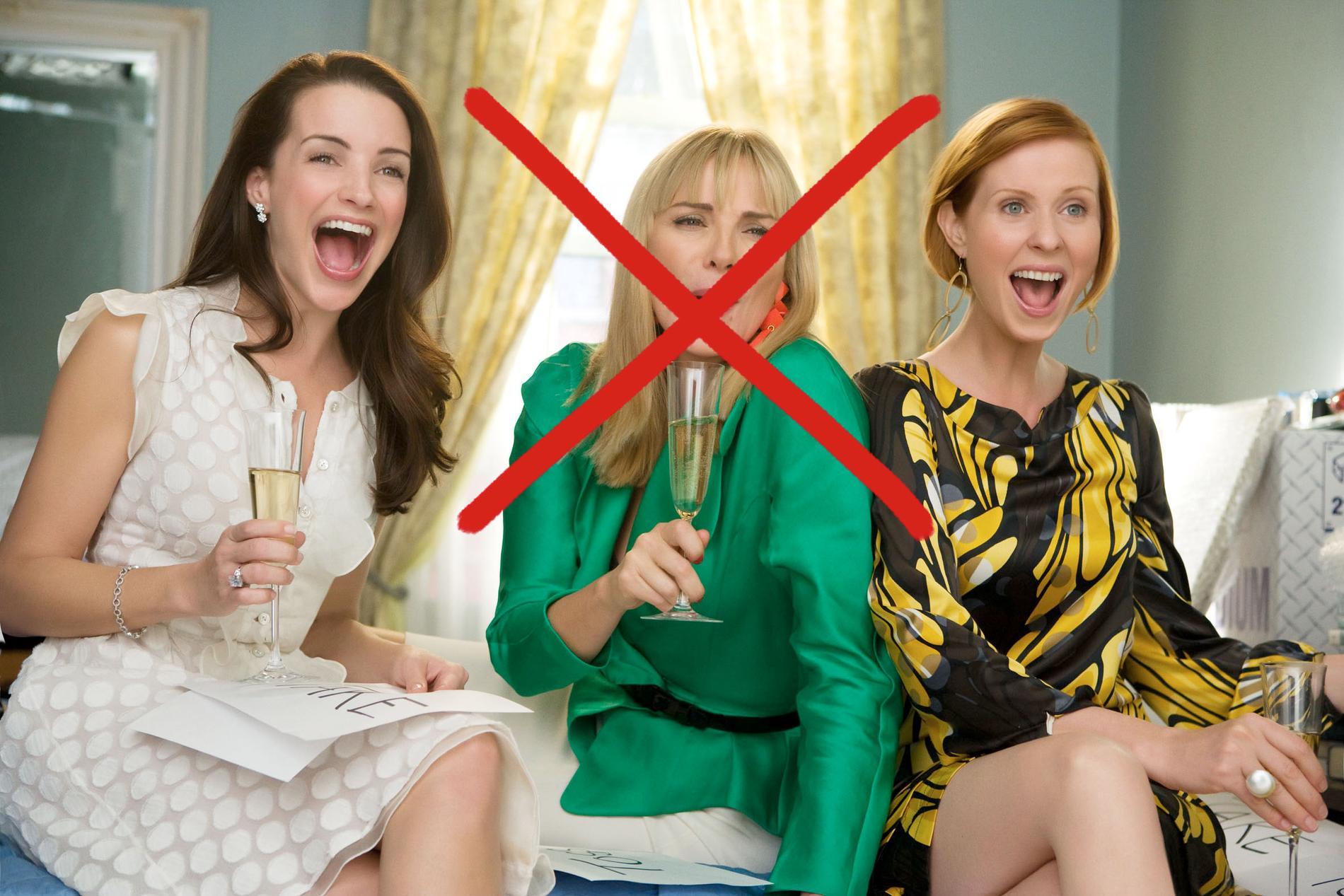 """Kristin Davis som """"Charlotte"""", Kim Cattrall, som """"Samantha"""", och Cynthia Nixon som """"Miranda"""" i """"Sex and the City - the Movie"""". Men nu får vänninnorna klara sig utan Samantha."""