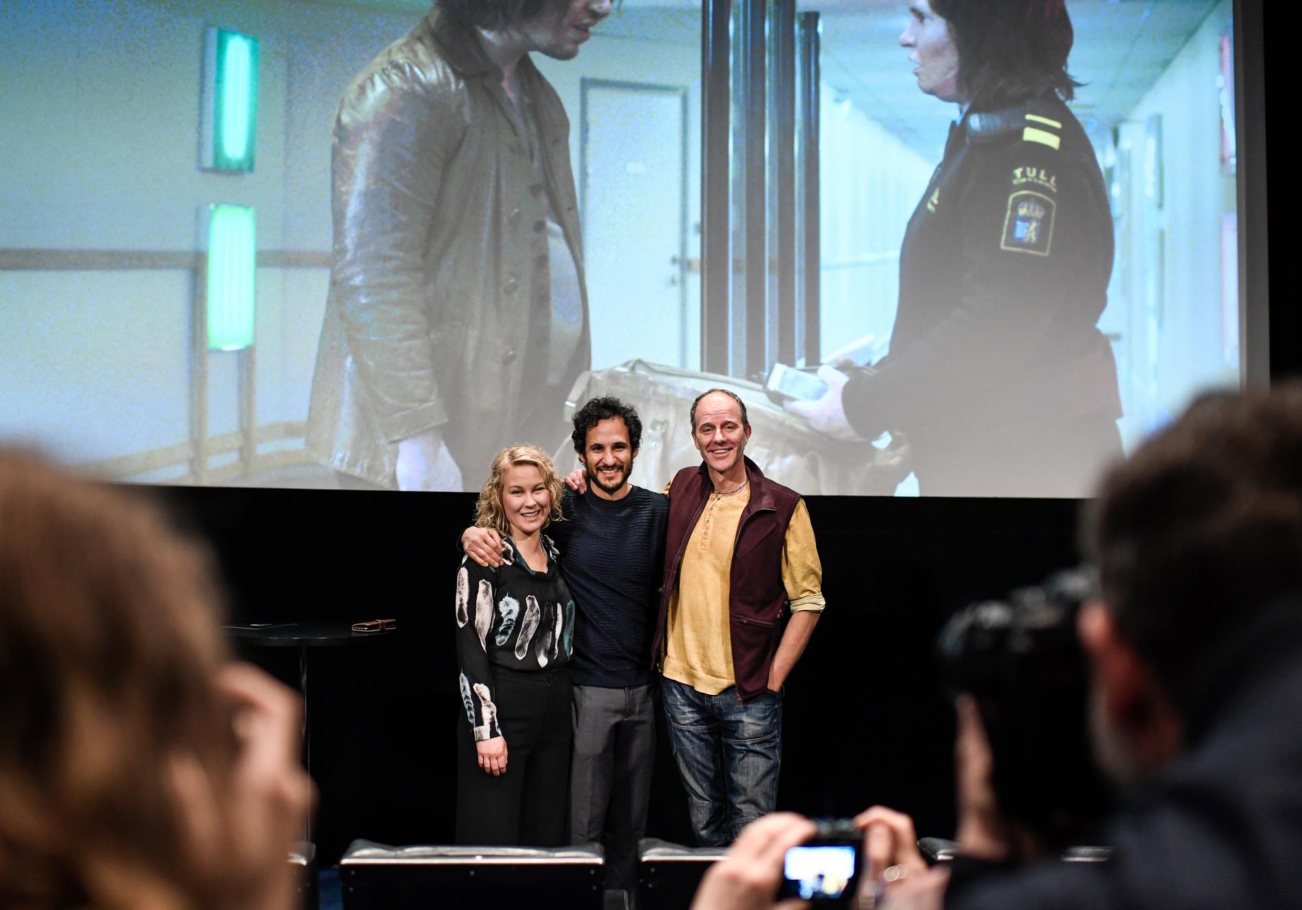 Skådespelaren Eva Melander, Regissören Ali Abbasis, manusförfattaren John Ajvide Lindqvist som med filmen Gräns som kommer blir Sveriges bidrag vid filmfestivalen i Cannes senare i vår då filmen blivit utvald till den prestigefyllda sektionen Un Certain .