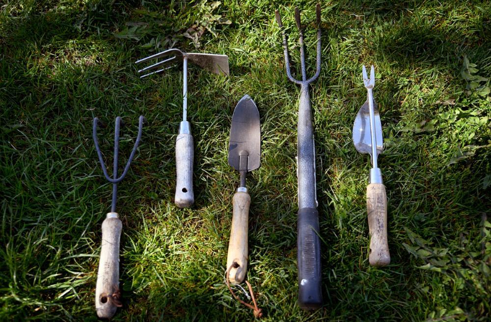 Kultivator, hacka, planteringsspade, lång kultivator och maskrosjärn.