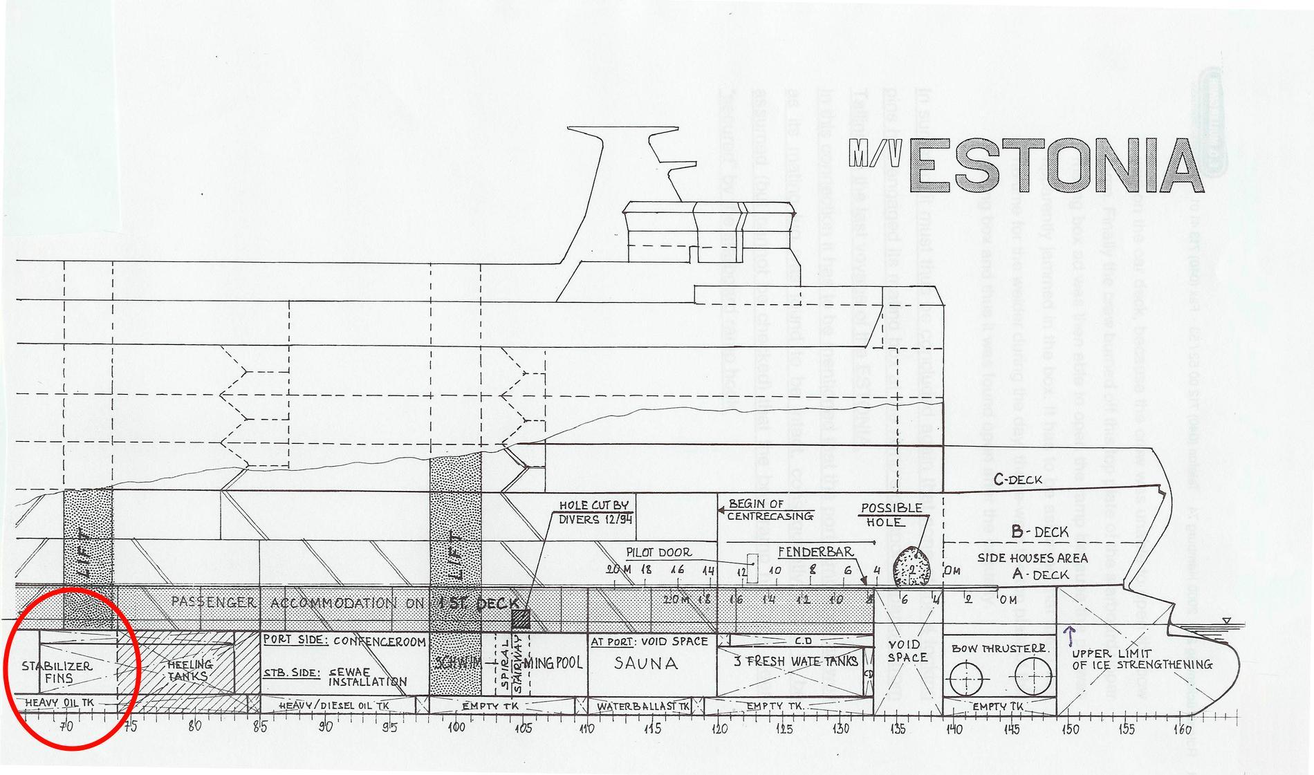Meyervarvets ritning över M/S Estonia sedd från sidan.