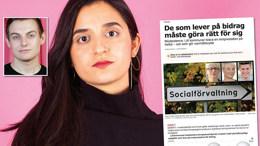 Personer som får ekonomiskt bistånd är inte automatiskt  lata och ska inte behöva känna skam för att de får hjälp. Det är redan stigmatiserande – och M gör det än värre med sin retorik, skriver Farida al-Abani och Joakim Månsson Bengtsson.