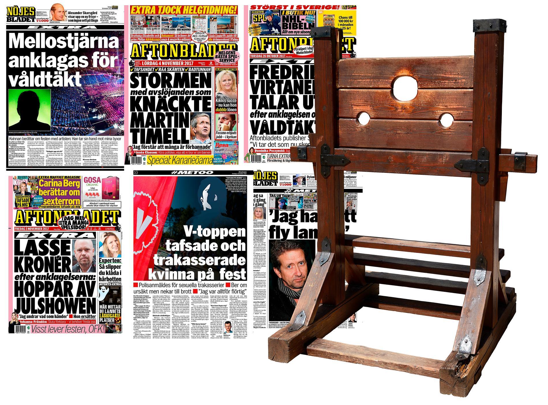 Skamstraff då och nu. Flera kända svenskar har hängts ut i dagspress och sociala medier i anslutning till #metoo-kampanjen. Stupstocken var äldre tiders skamstraff.