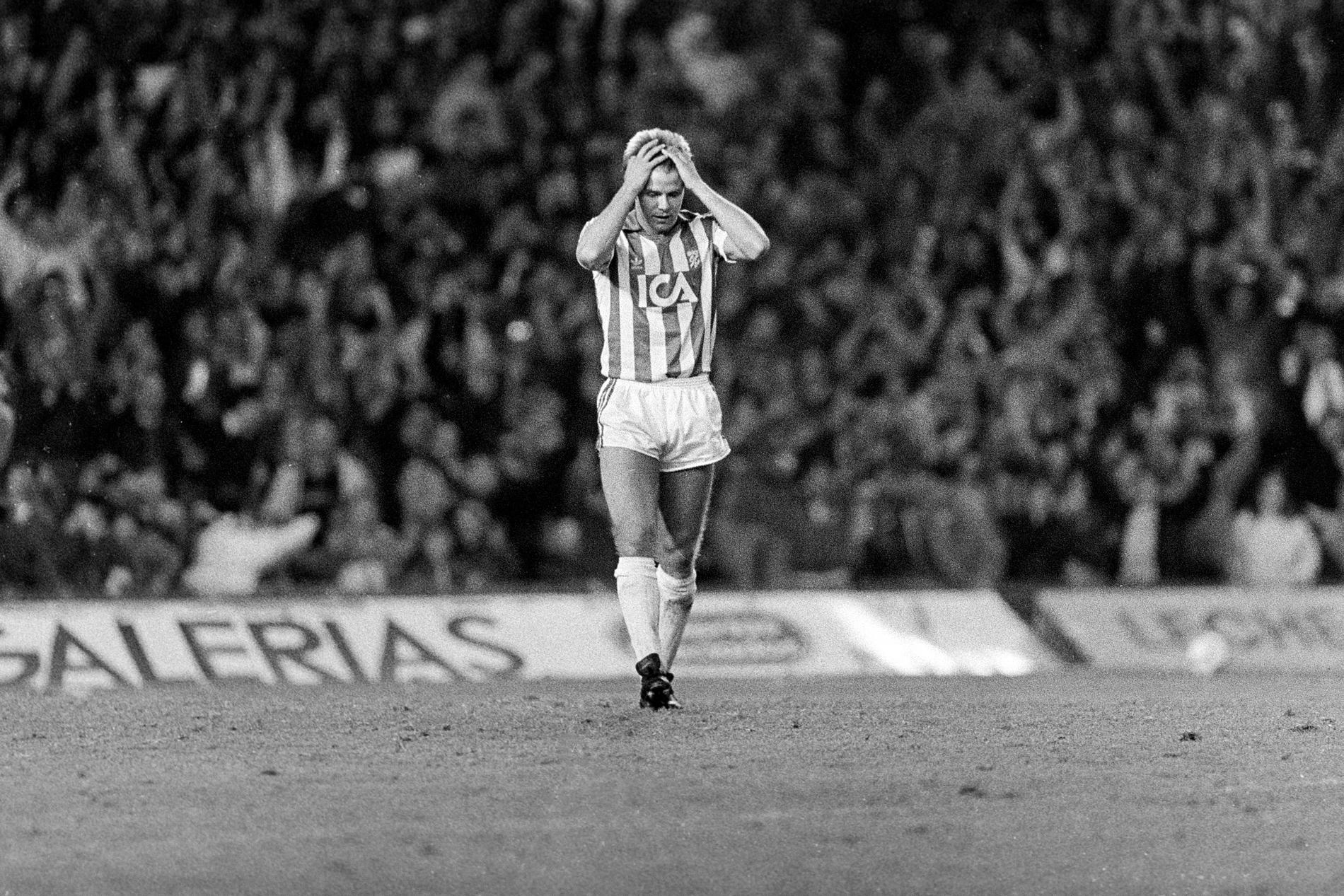 Roland Nilsson efter straffmissen mot Barcelona.