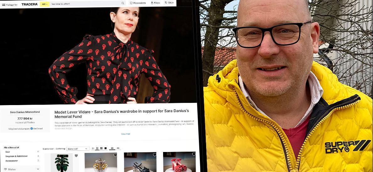 """Efter en tuff budstrid mot influencern Margaux Dietz i Stockholm vann Mikael Ask i Höganäs auktionen: """"Sara Danius finns inte längre här på jorden, men hennes mod, styrka och integritet lever kvar. Jag är så glad att jag vann blusen"""", säger han."""