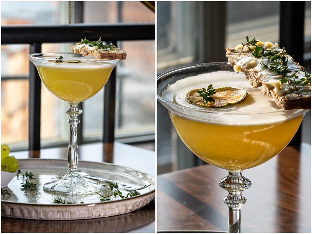 Timjan med lime och basilika sätter smak på den här vårfräsch drinken.