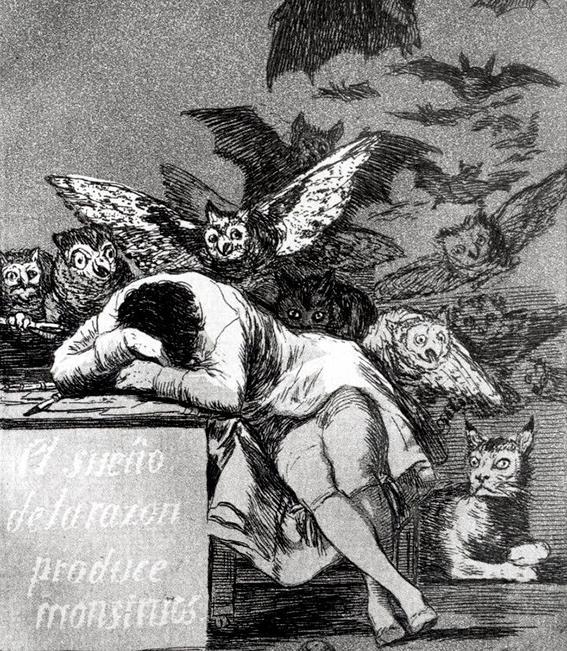"""""""När förnuftet sover skapas monster"""", gravyr från 1799 av den spanske konstnären Fransisco de Goya (något beskuren)."""