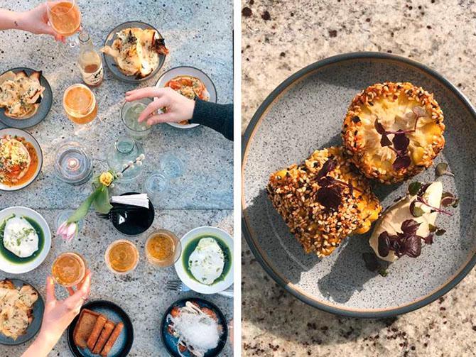 Burrata, naturvin och rostad majskolv på Bleck.