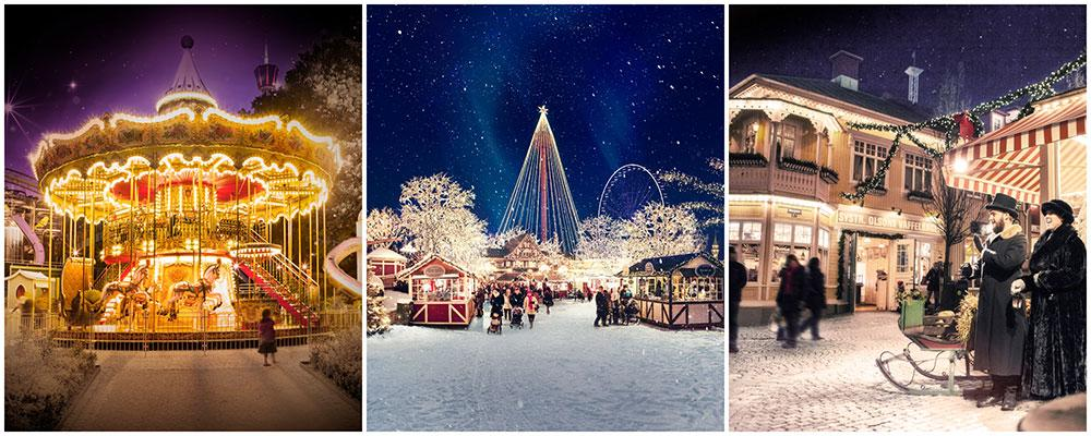 Fira jul på Liseberg bland tomtar och karuseller.