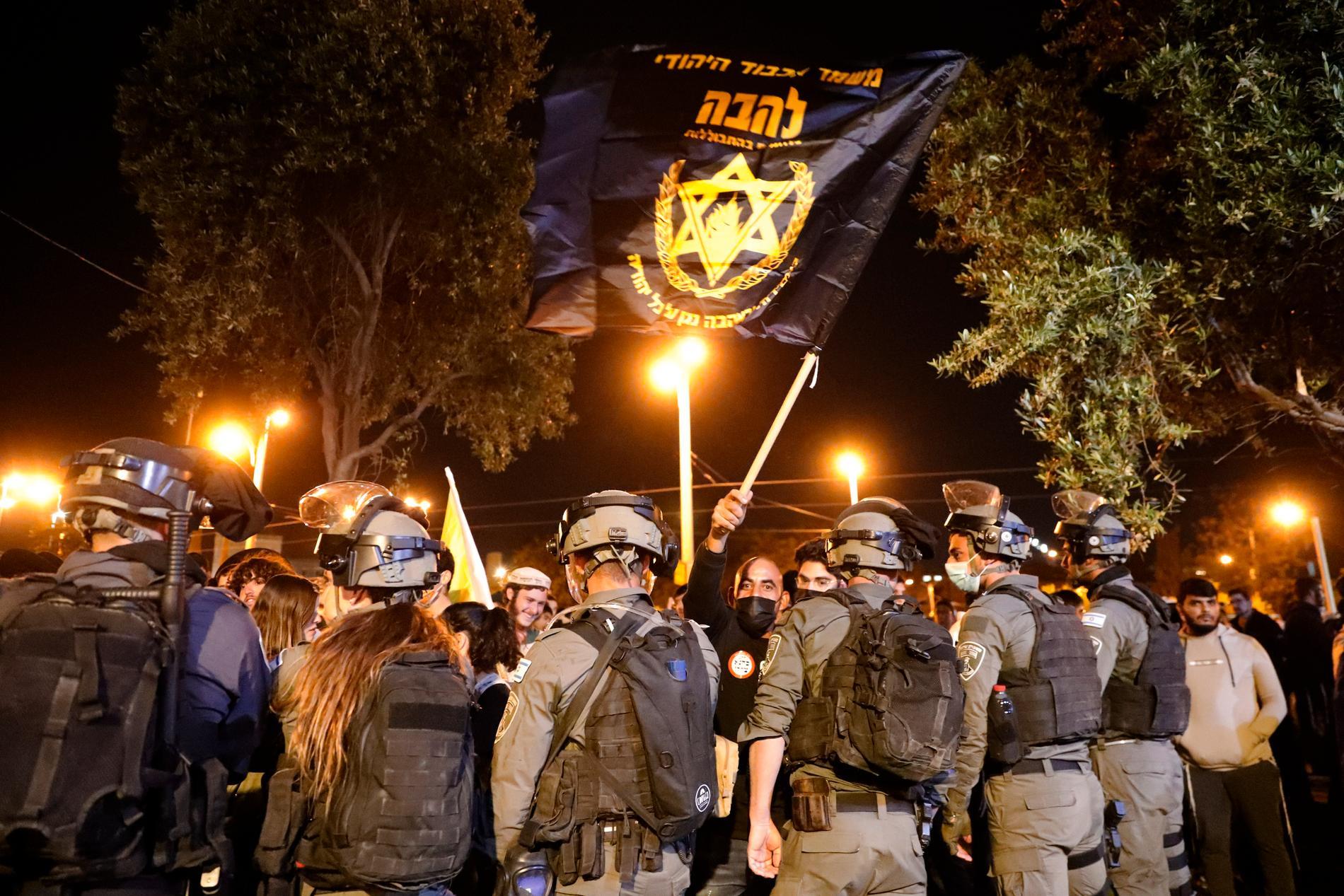 Israelisk polis blockerar en protest av den judiska extremistgruppen Lahava.