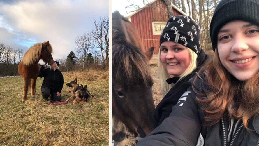 Åse Strandberg med sin avelshingst Valiant från Solbacka och sina hundar. Till höger Åse tillsammans med Jennie Larsson som inte tvekade när Åse blev sjuk och behövde hjälp med att ta hand om djuren på gården. Med på bilden är också hästen Gloria från Norrkåsa.