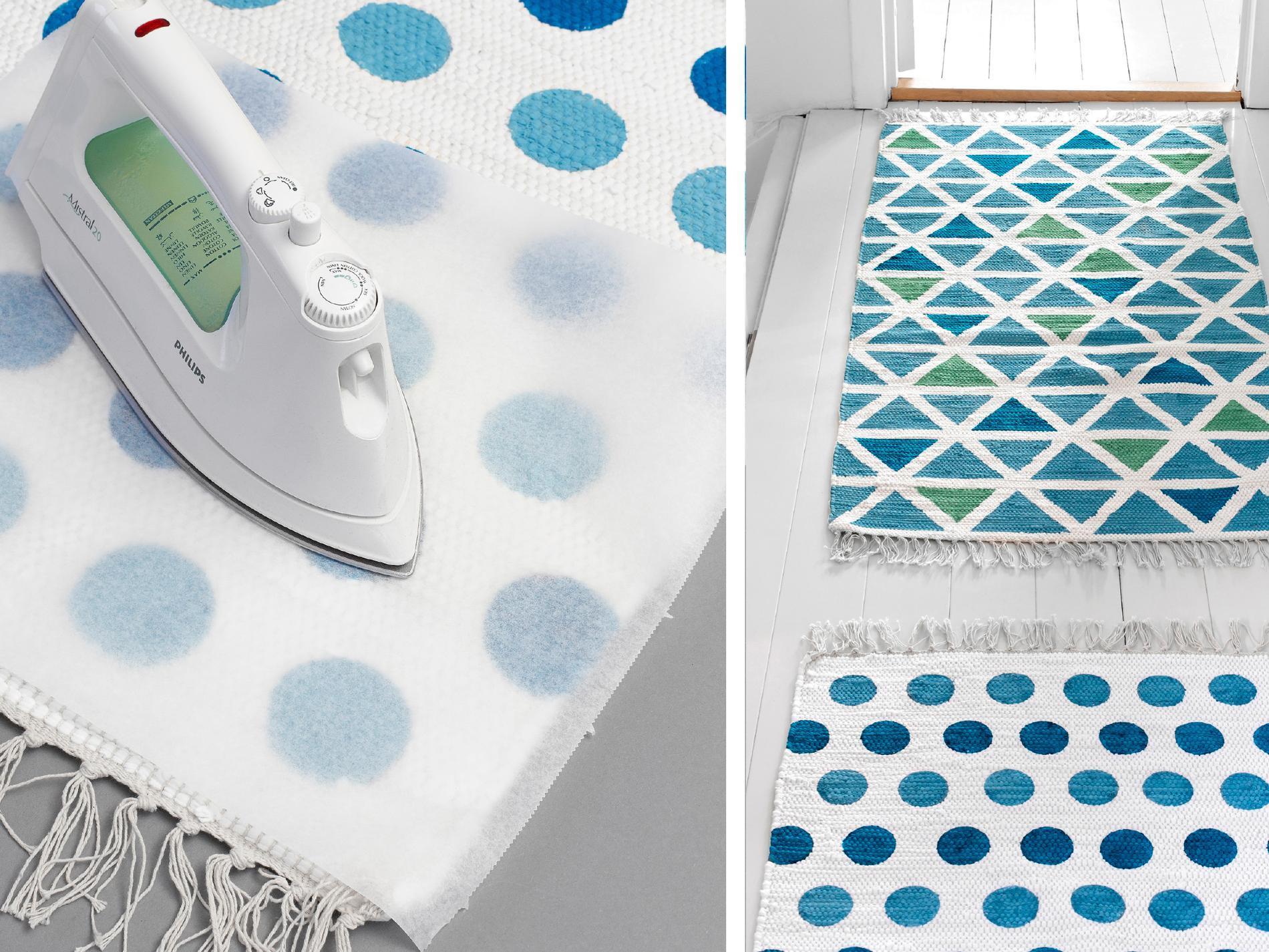 Glöm inte att strykfixera. Sätt strykjärnet på högsta värme och stäng av ångan. Placera bakplåtspapper ovanpå mattan och stryk över färgen i cirka 5 minuter. Eller följ instruktionerna på just din textilfärg. Efter strykning tål mattan tvätt i 40 grader.
