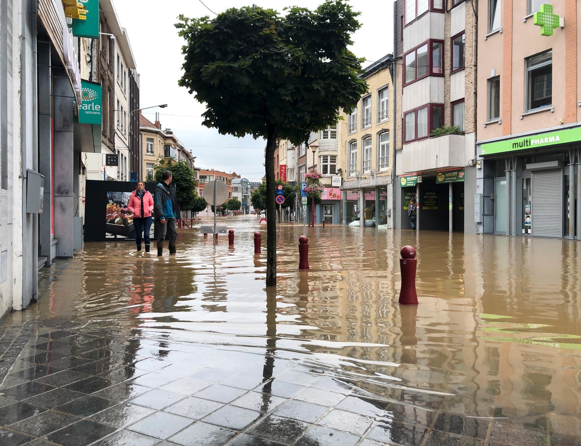 Bild från de tidigare översvämningarna i Belgien i sommar.