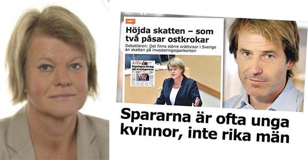 """Ulla Andersson (V): Claes Hemberg påstår att det skulle vara kvinnor med """"vanlig lön"""" som är målet för ISK-skatten. Det stämmer dåligt."""