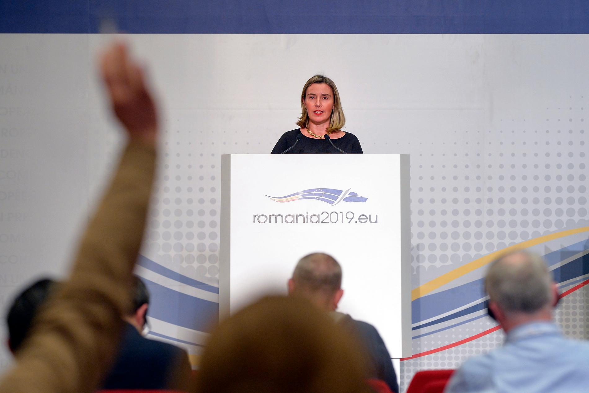 EU:s utrikeschef Federica Mogherini vid EU:s ministermöte i Bukarest i Rumänien.