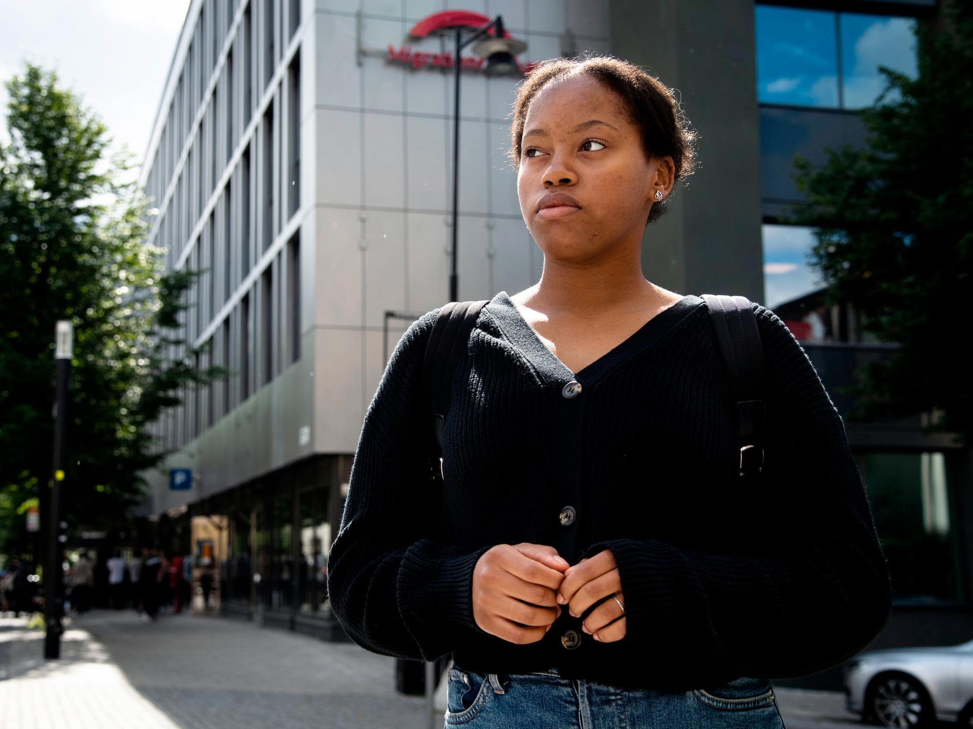 Selma Yohannes efter besök på Migrationsverket i Sundbyberg.