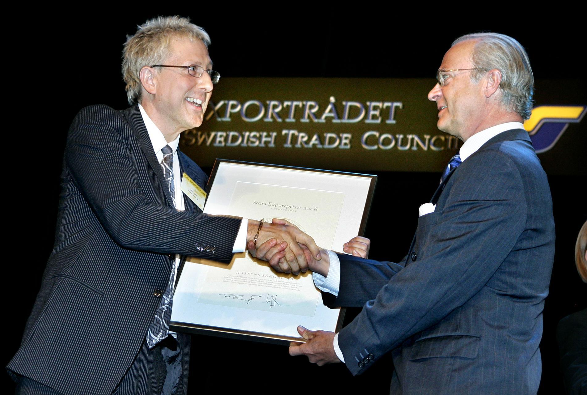 Jan Ryde fick stora exportpriset 2006. Priset överlämnades av kung Carl XVI Gustaf.
