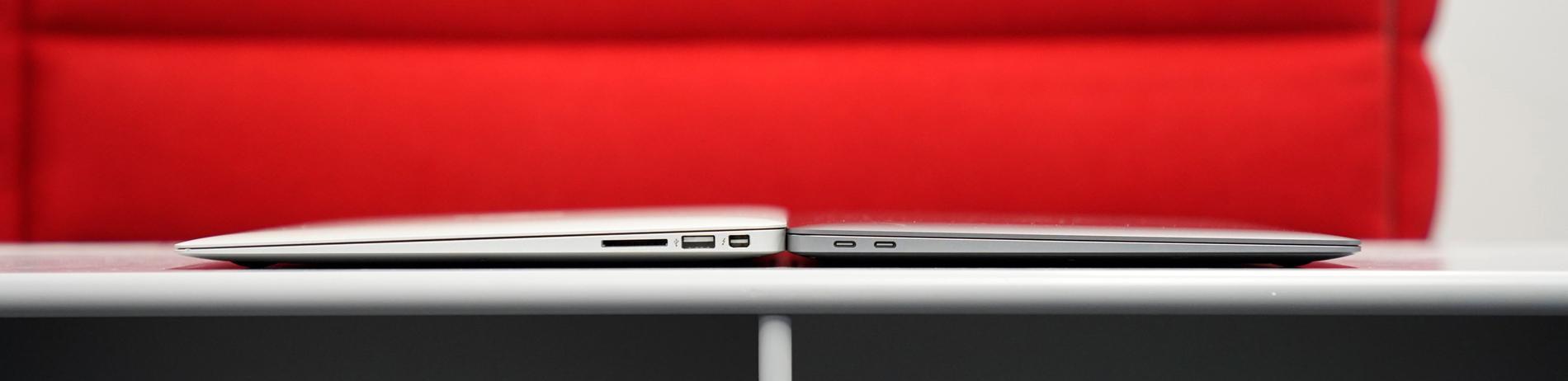 Nya Macbook Air (till höger) har blivit tunnare.