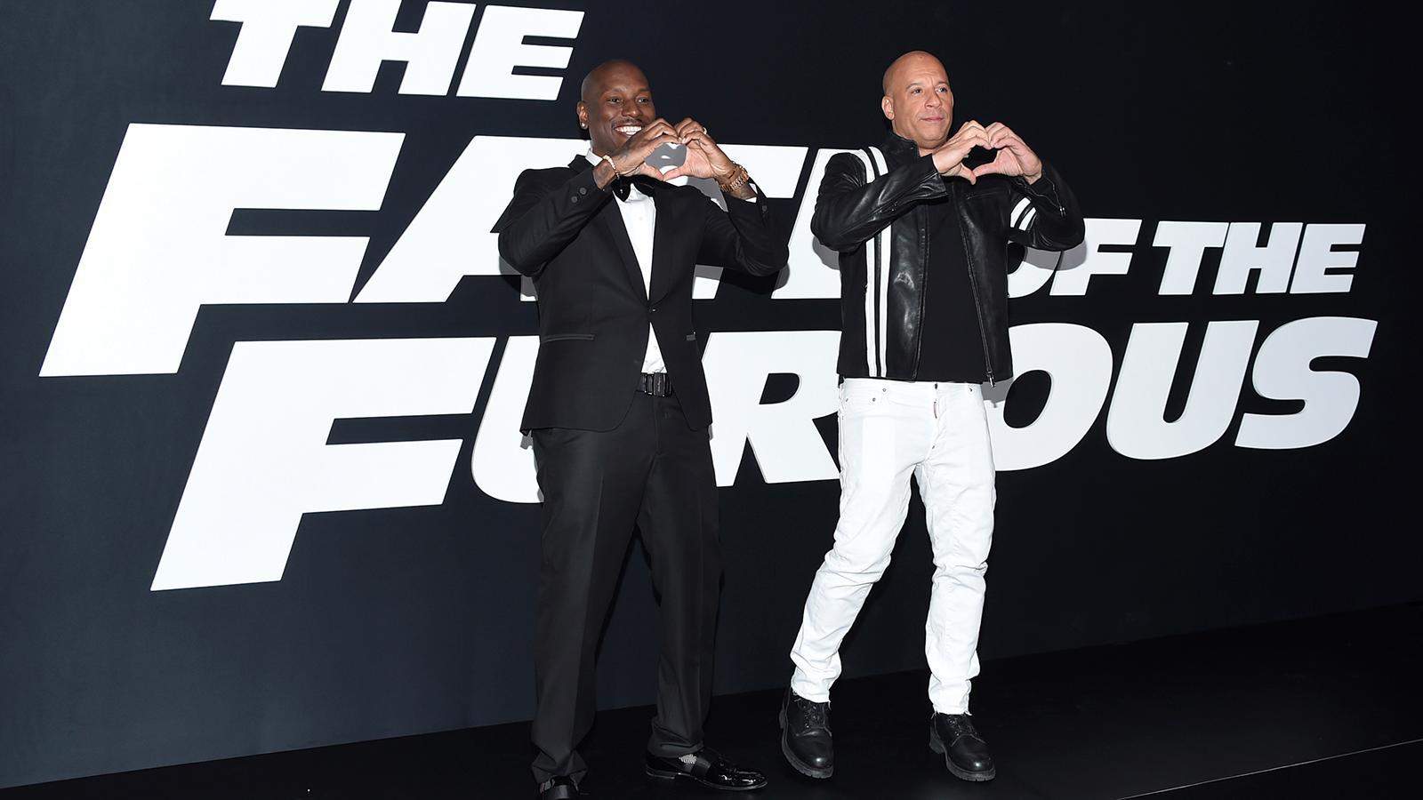 """Tyrese Gibson (till vänster) och Vin Diesel vid premiären för """"The Fate of the furious"""" 2017 i New York."""