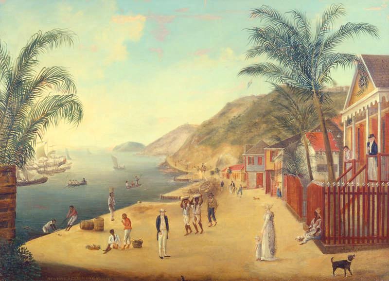 FIASKOMålning som beskriver livet i staden Gustavia på svenskkolonin Saint Barthélemy i Karibien - en liten, fattig och i längden föga lukrativ besittning.
