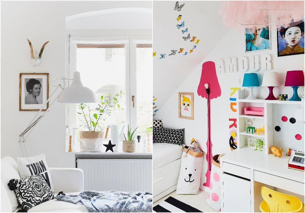 Ett foto av Mercedes mor hänger över soffan. Soffan är från Ikea och kuddarna är från H&M Home. i Emilias rum är det en massa starka färger, för det tycker hon om. Den rosa lampan vid väggen är direkt ditmålad och och lampan i taket har en gammal tyllskjol över sig.