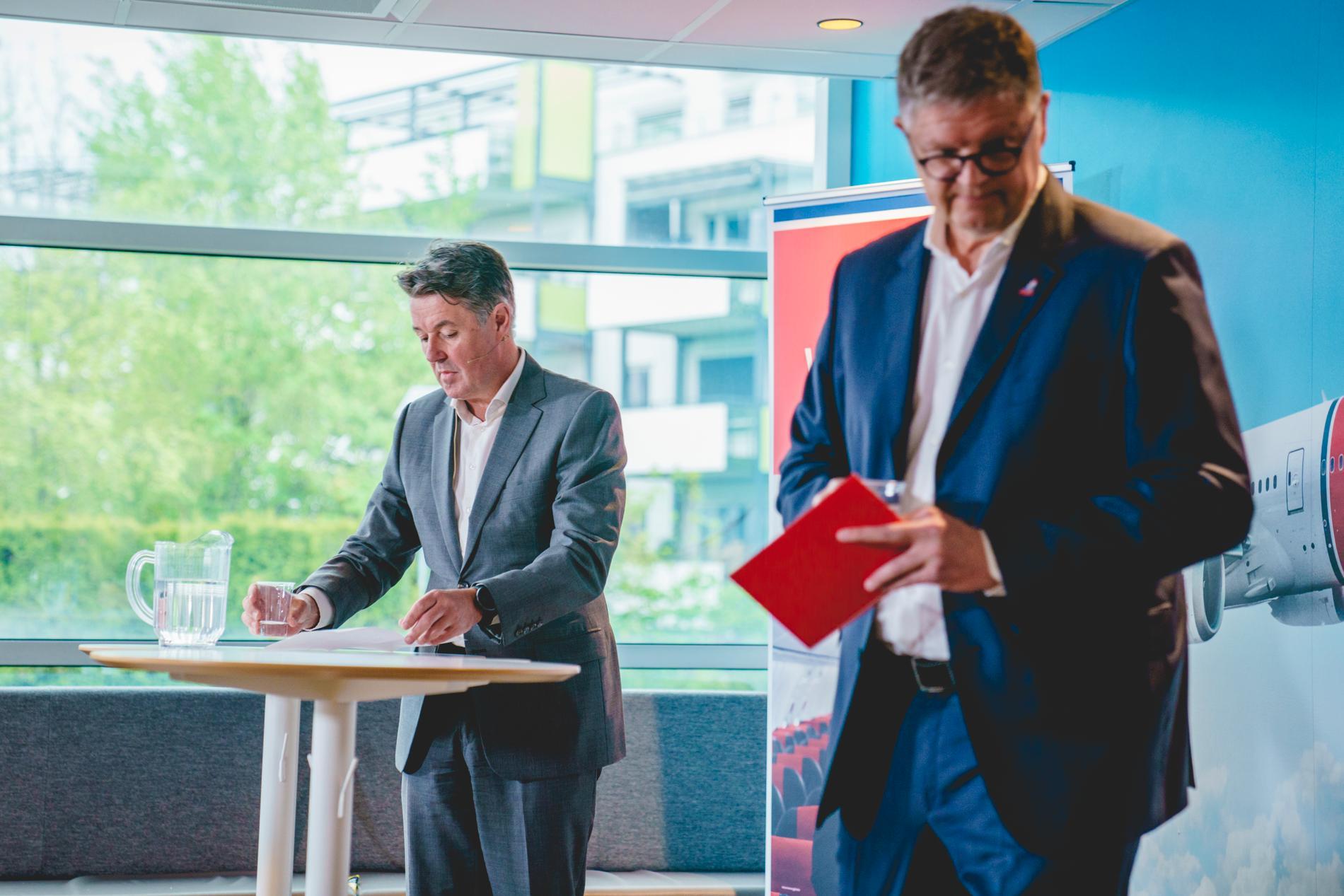 Norwegians nuvarande och förre vd och koncernchefer Geir Karlsen och Jacob Schram. Arkivbild.