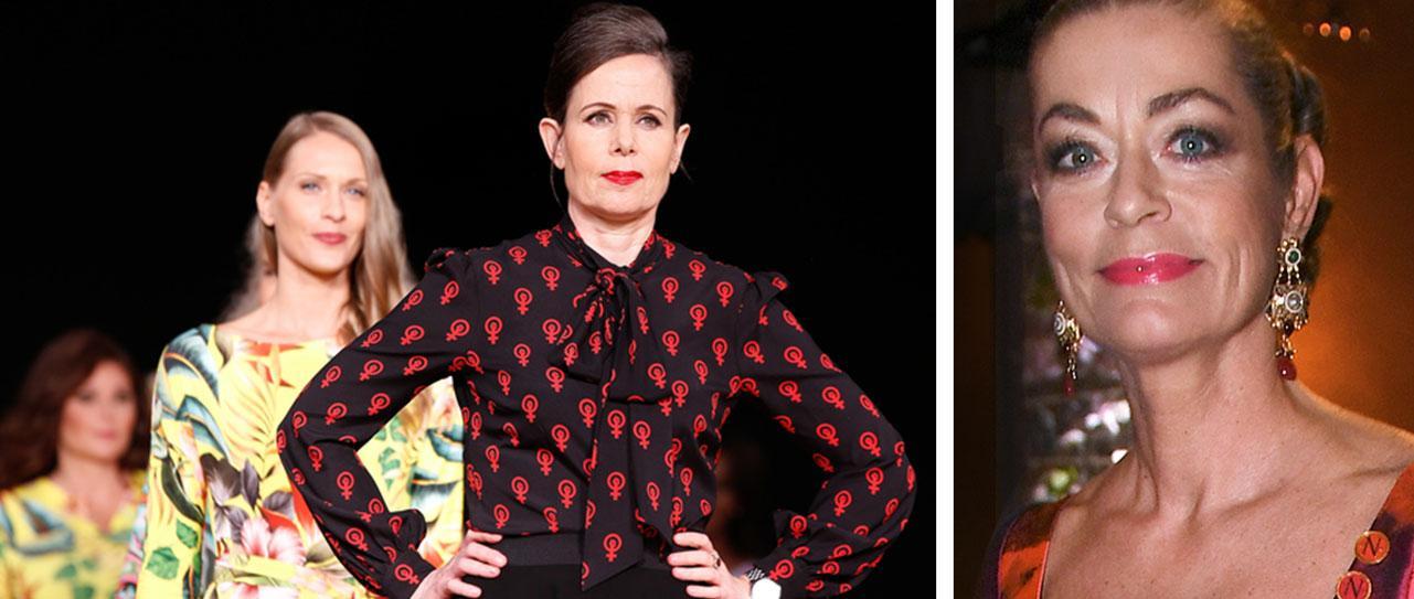Blusen var Sara Danius egen idé, skapad i samarbete med designern Camilla Thulin (till höger). Hon visade upp den på Stockholms modevecka 2018.