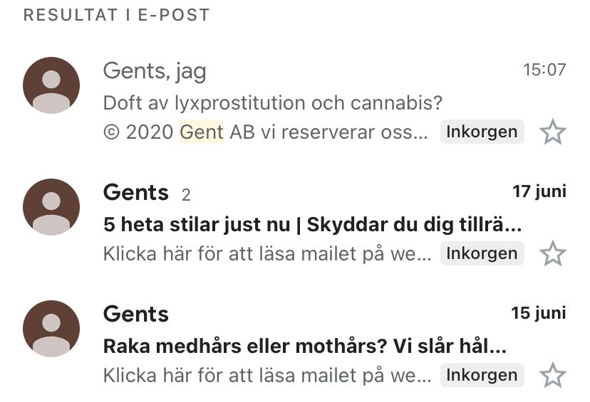 Titeln på mejlet från Gents var Lyxprostitution och cannabis?