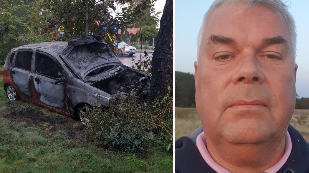 När Johan Blomgren kom till platsen såg han en bil som kraschat in i ett träd och fattat eld. Han larmade direkt 112.