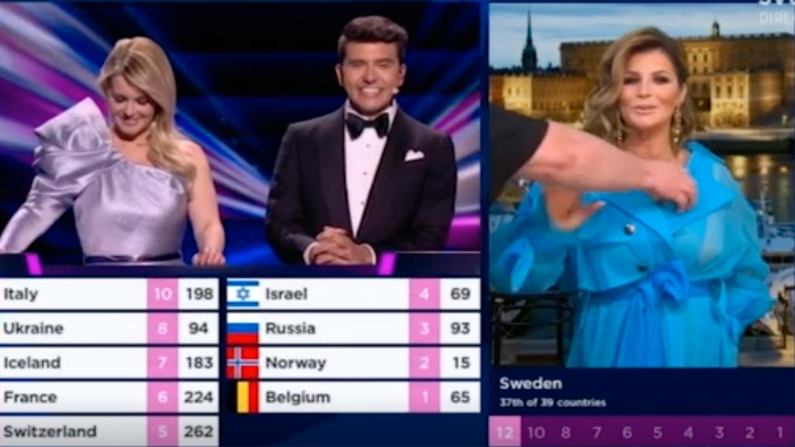 När Carola klipptes in i direktsändningen för att avlägga de svenska juryrösterna, stack en hand fram för att rätta till hennes utrustning.